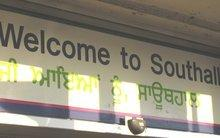 'Welcome to Southhall' sign at the London Southhall railway station (photo: Arian Fariborz)