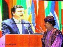 Muammar Gadaffi, Nauel Barroso (photo: dpa)
