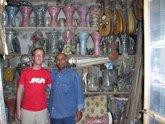 The band's drummer Christian Thomé in an Egyptian music store (photo: Udo Moll)