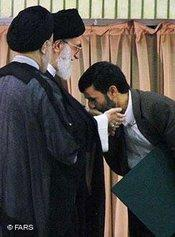 Two clerics and Iran's President Ahmadinejad (photo: Fars)