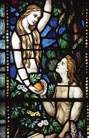 Church window motif of Adam and Eve (photo: www.religion.info)