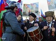A protest rally during Azerbajan's most recent elections (photo: AP)