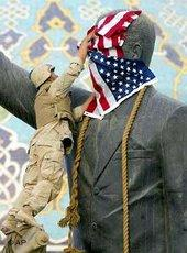 Saddam Hussein's statue in Baghdad was draped in a US flag in 2003 (photo: AP)