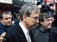 Orhan Pamuk on his way to court (photo: AP)