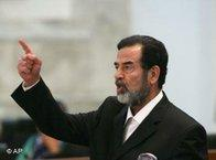 Saddam Hussein in the court room duriing his trial (photo: AP)
