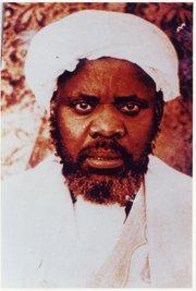 Ibrāhīm Niass (1900-1975)—also written Ibrahima Niasse in French, Ibrayima Ñas in Wolof, Shaykh al-'Islām al-Ḥājj Ibrāhīm ibn al-Ḥājj ʿAbd Allāh at-Tijānī al-Kawlakhī in Arabic (photo: Wikipedia)