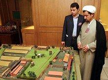 An Islamic cleric and an aide during the holocaust conference in Tehran, Iran, at a model of the Nazi concentration camp Treblinka (photo: AP)
