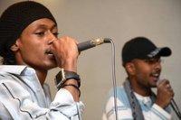 Ali Salih, left, during the first ever public hip-hop concert in Yemen (photo: Klaus Heymach)