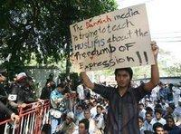 About 300 Muslims demonstrated peacefully outside the Danish Embassy in Bangkok on Monday 6 February 2006 (photo: AP)