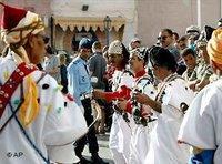 Gnawa musicians at the festival in Essaouira, Morocco (photo: AP)