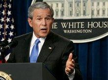 President George W. Bush during a press conference in the White House (photo: AP)