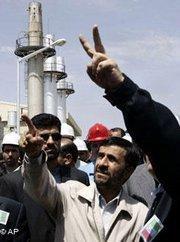 Iran's President Mahmoud Ahmadinejad at a nuclear site in Iran (photo: AP)