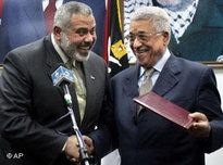 Palestinian Authority President Mahmoud Abbas (right) and Prime Minister Ismail Haniyeh (photo: AP)