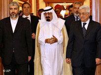 King Abdullah, Mahmoud Abbas and Khaled Mashaal (photo: AP)