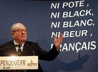 Far-right presidential hopeful Jean-Marie Le Pen gestures as he addresses reporters at his party's headquarters in Saint-Cloud, west of Paris, April 2007 (photo: AP)