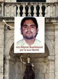 Picture of murdered Afghan translator Ajmal Naqshbandi at the Campidoglio Capitol hill square, Rome, 26 March, 2007