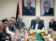 Ismail Haniyeh of Hamas, center, meets with local Hamas and Fatah leaders in Gaza City (photo: AP)