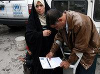 Iraqi refugees at the UNHCR office in Damascus, Syria (photo: AP)