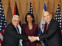 US Secretary of State, Condoleeza Rice, Israeli Prime Minister Olmert and Palestinian President Abbas (photo: AP)