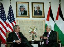 US President Bush and Palestinian President Mahmoud Abbas in Ramallah (photo: AP)