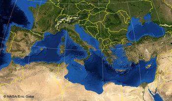 Satellite shows Mediterranean Sea, the EU countries and Northern Africa (photo: NASA)