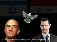 Israeli Prime Minister Olmert, left, and Syria's President Assad; a dove of peace in the middle (sources: AP, dpa; montage: DW)