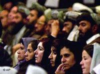 Female listeners in the Afghan, male-dominated, Loya jirga (photo: AP)