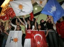 Supporters of the Justice and Development Party wave Turkish and party flags (photo: AP)