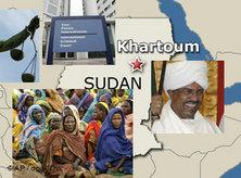 Turbaned Al-Bashir, Sudanese refugees, the ICC (montage: AP)