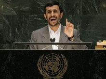 Mahmud Ahmadinejad speaking to the UN (photo: AP)
