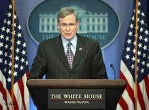 National Security Adviser Stephen Hadley addresses the media (photo: AP)