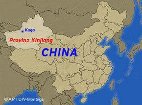 Map of China, marking out Xinjiang (photo: AP/ DW Montage)