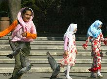 Turkish girls playing in a park (photo: AP)