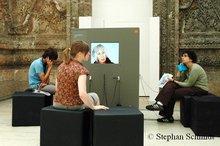 Visitors at the Naqsh exhibition, Berlin (photo: Stephan Schmidt)