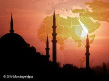 Mosque and map of Africa, the Middle East and Asia (photo: dpa/DW)