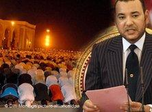 Morrocco's King Mohammed VI and praying Muslims (photo: dpa/DW)