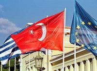 Turkish, European and Greek flag (photo: AP)