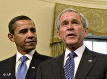 George W. Bush and Barack Obama (photo: AP)