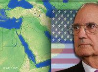Montage of George Mitchell, the American flag, and a map of the Middle East (photo: AP/DW)