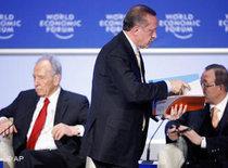 Erdogan leaving the podium in Davos (photo: AP)