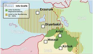 Map of the autonomous Kurdish region in northern Iraq (photo: DW)