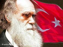 Charles Darwin and the Turkish flag (photo: dpa/DW)