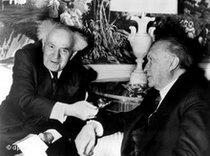 David Ben Gurion and Konrad Adenauer 1960 in the Waldorf Astoria Hotel in New York (photo: dpa)