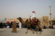 Man on a camel at the Janadriyah festival (photo: Hanna Labonté)