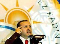 Erdogan in front of an AKP banner (photo: AP)