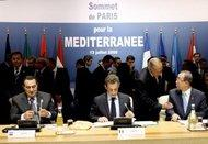 Sarkozy, Mubarak and Ban Ki Moon before the plenary session during the Paris summit on 13 July 2008 (photo: dpa)