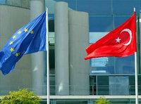 Turkish and EU flags at NATO headquarters in Brussels, Belgium (photo: AP)