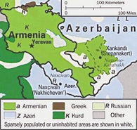 Map of ethnolinguistic groups in the Nagorno-Karabakh region (Courtesy of The General Libraries, The University of Texas at Austin)