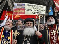 Syrian Orthodox Christians demonstrating in Turkey (photo: AP)
