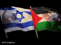 Israeli and Palestinian flag (image: AP Graphics)